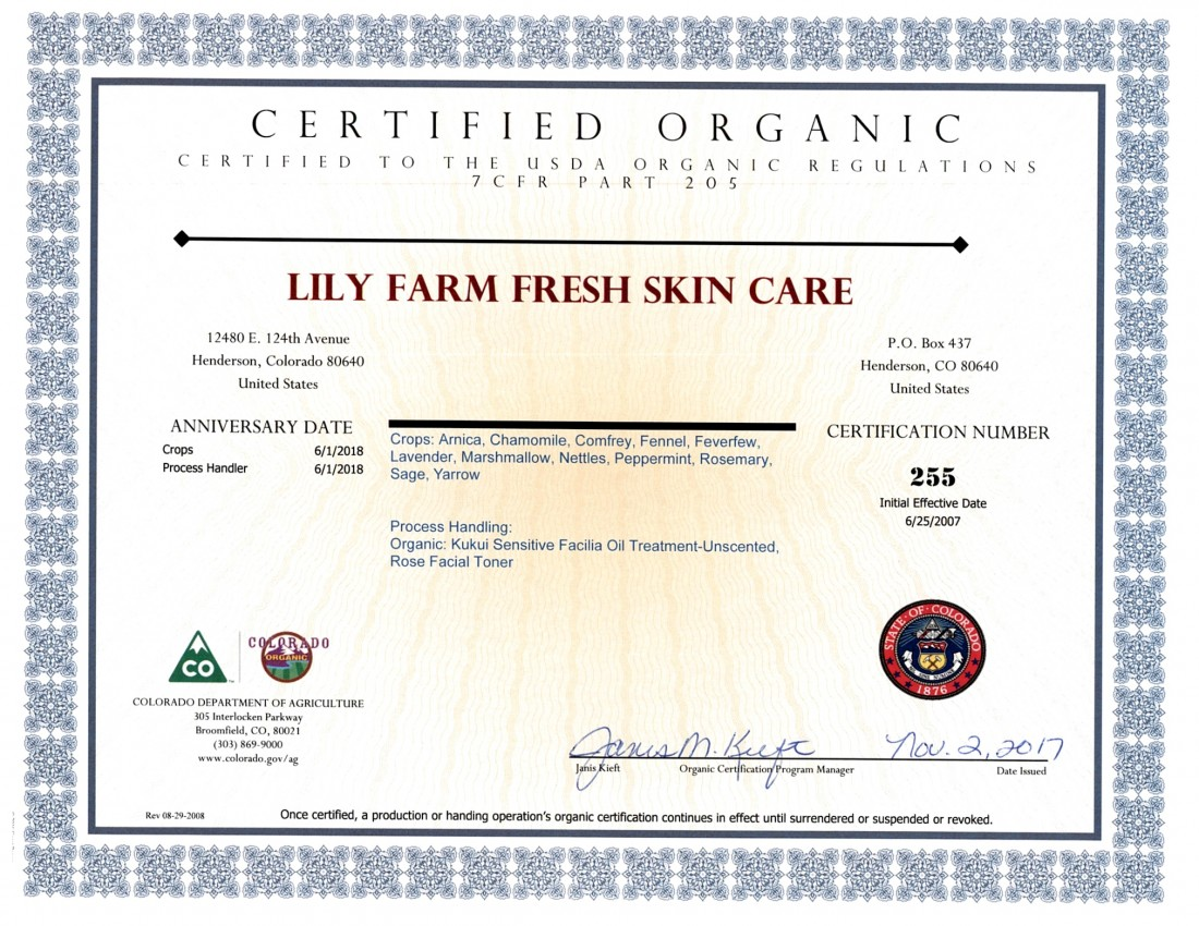 Lily farm fresh skin care receives usda organic certification view larger image xflitez Gallery